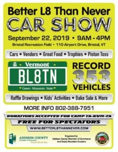 VT - Bristol - Better L8 Than Never Car Show @ Bristol Recreation Field | Bristol | Vermont | United States