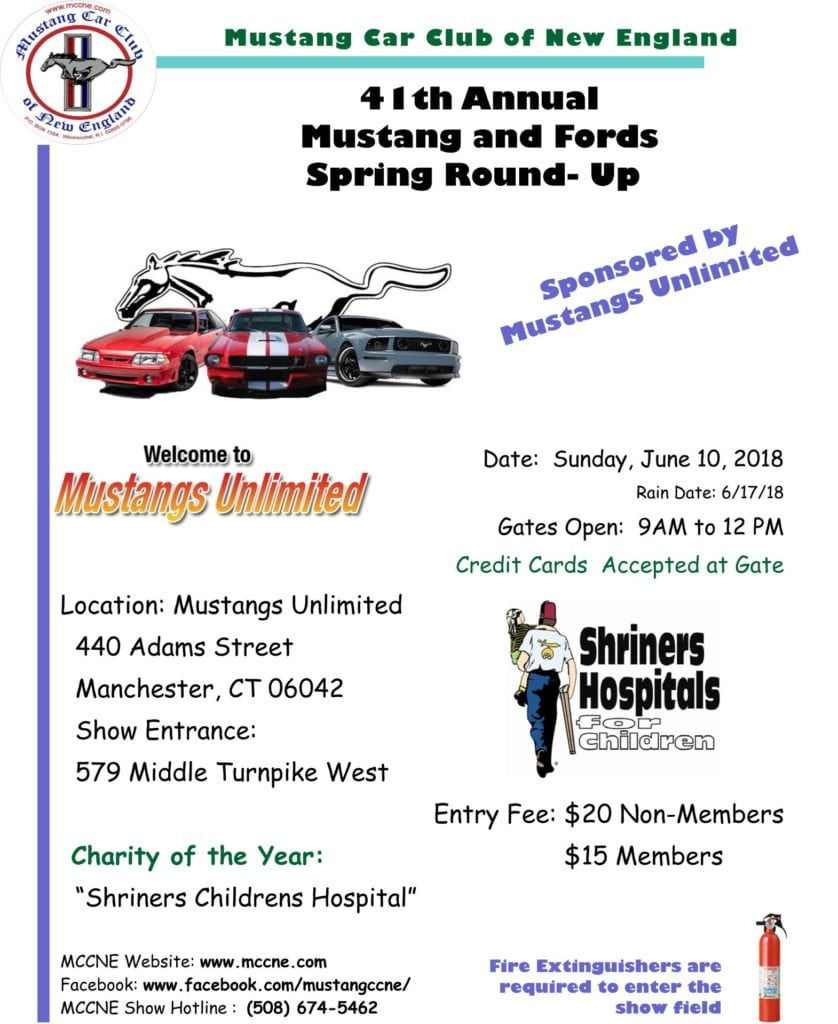 CT Manchester MCNE St Annual Spring Round Up - Mustangs unlimited car show 2018
