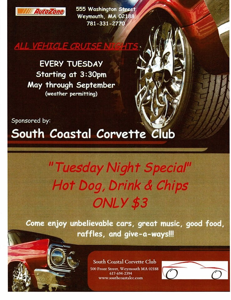 Cruise nights at AutoZone, Weymouth every Tuesday starting May 1st till September (Weather permitting)
