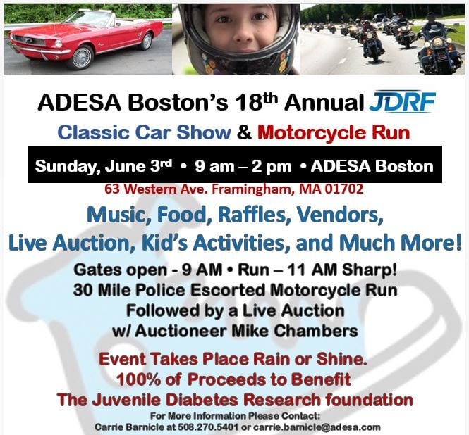 ma framingham adesa boston 39 s annual jdrf car show and motorcycle run. Black Bedroom Furniture Sets. Home Design Ideas